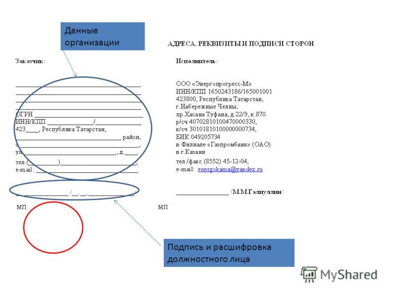 Данные организации Подпись и расшифровка должностного лица