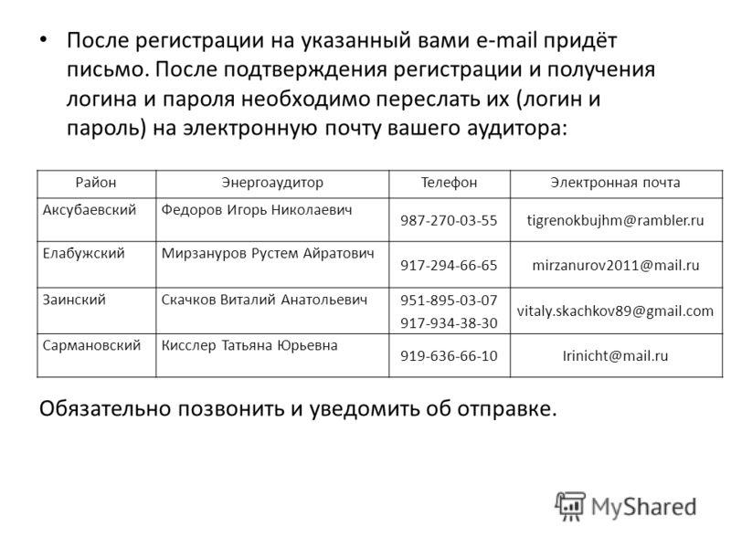 После регистрации на указанный вами e-mail придёт письмо. После подтверждения регистрации и получения логина и пароля необходимо переслать их (логин и пароль) на электронную почту вашего аудитора: Обязательно позвонить и уведомить об отправке. РайонЭ