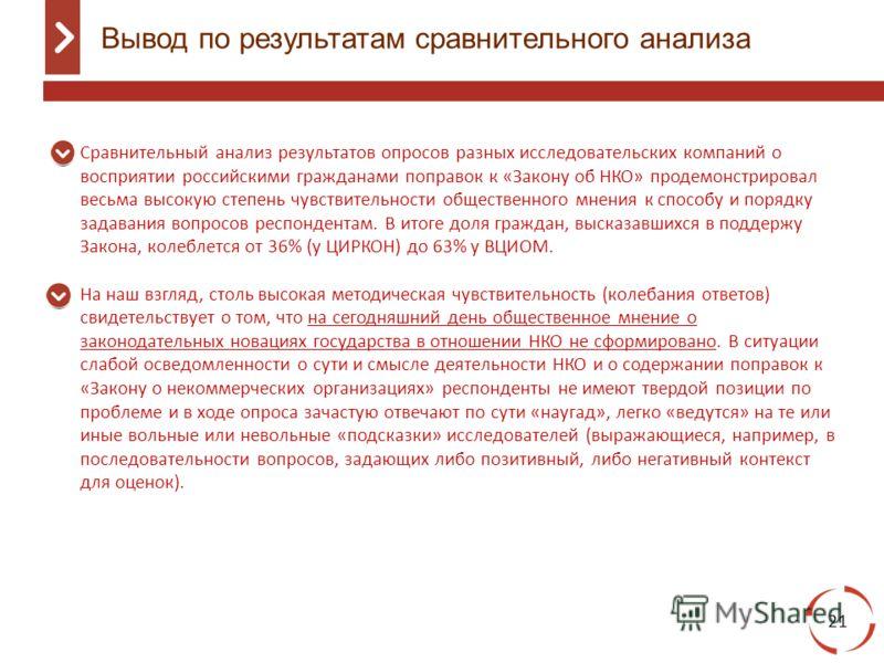 Вывод по результатам сравнительного анализа 21 Сравнительный анализ результатов опросов разных исследовательских компаний о восприятии российскими гражданами поправок к «Закону об НКО» продемонстрировал весьма высокую степень чувствительности обществ