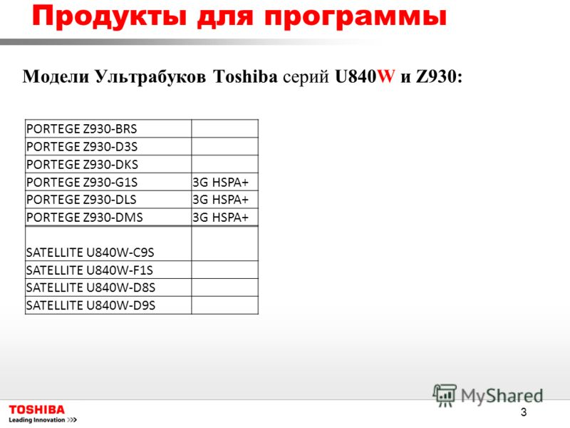 3 Модели Ультрабуков Toshiba серий U840W и Z930: Продукты для программы PORTEGE Z930-BRS PORTEGE Z930-D3S PORTEGE Z930-DKS PORTEGE Z930-G1S3G HSPA+ PORTEGE Z930-DLS3G HSPA+ PORTEGE Z930-DMS3G HSPA+ SATELLITE U840W-C9S SATELLITE U840W-F1S SATELLITE U8