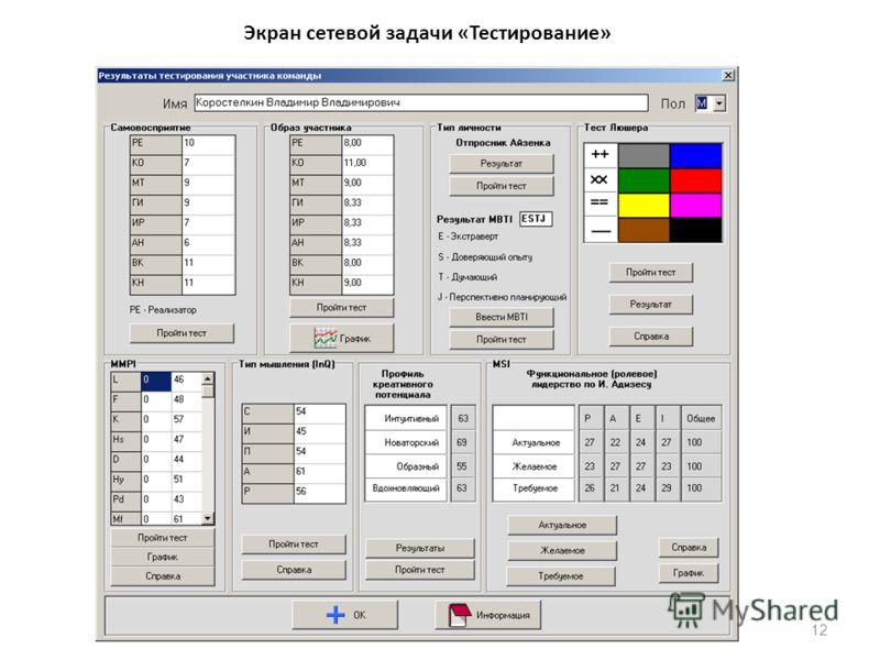12 Экран сетевой задачи «Тестирование»
