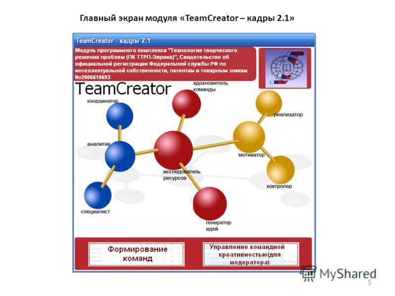 5 Главный экран модуля «TeamCreator – кадры 2.1»