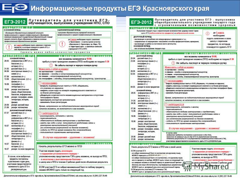 Информационные продукты ЕГЭ Красноярского края резервные дни
