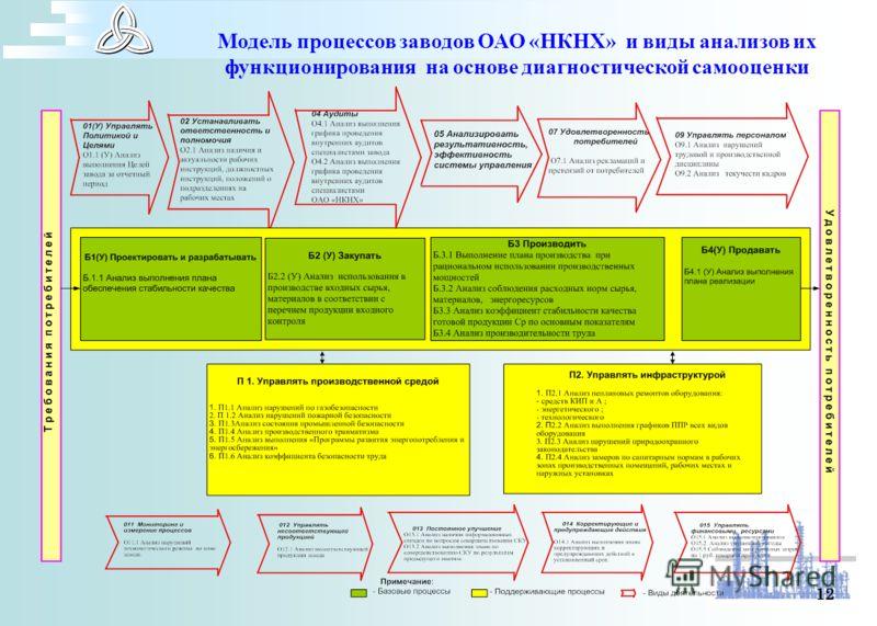 12 Модель процессов заводов ОАО «НКНХ» и виды анализов их функционирования на основе диагностической самооценки