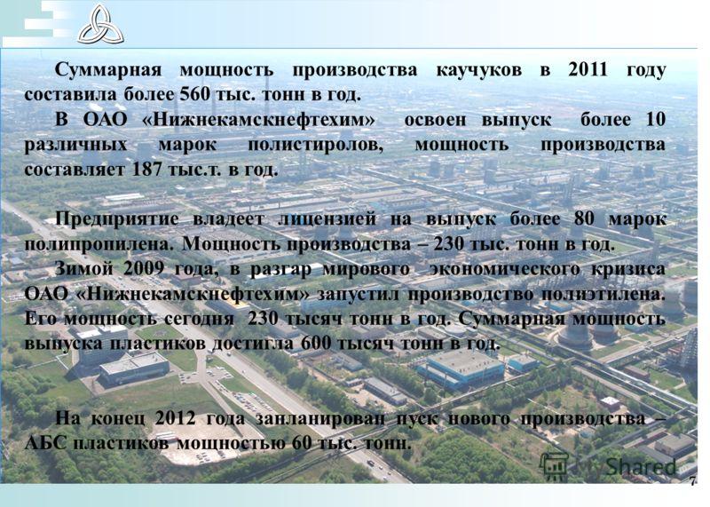 7 Суммарная мощность производства каучуков в 2011 году составила более 560 тыс. тонн в год. В ОАО «Нижнекамскнефтехим» освоен выпуск более 10 различных марок полистиролов, мощность производства составляет 187 тыс.т. в год. Предприятие владеет лицензи