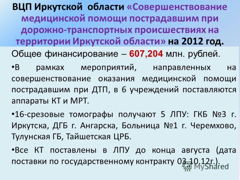 ВЦП Иркутской области «Совершенствование медицинской помощи пострадавшим при дорожно-транспортных происшествиях на территории Иркутской области» на 2012 год. Общее финансирование – 607,204 млн. рублей. В рамках мероприятий, направленных на совершенст