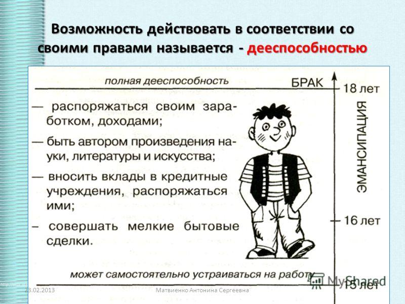 Возможность действовать в соответствии со своими правами называется - дееспособностью 23.02.2013Матвиенко Антонина Сергеевна