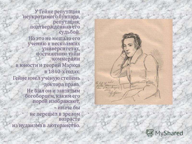 У Гейне репутация неукротимого бунтаря, репутация, подтверждённая его судьбой. Но это не мешало его учению в нескольких университетах, постижению тайн коммерции в юности и теорий Маркса в 1840-х годах. Гейне имел учёную степень доктора права. Не был