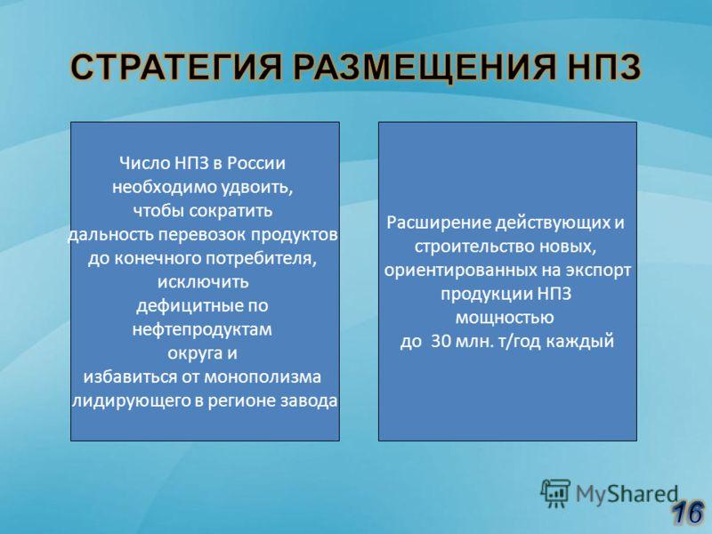 Число НПЗ в России необходимо удвоить, чтобы сократить дальность перевозок продуктов до конечного потребителя, исключить дефицитные по нефтепродуктам округа и избавиться от монополизма лидирующего в регионе завода Расширение действующих и строительст