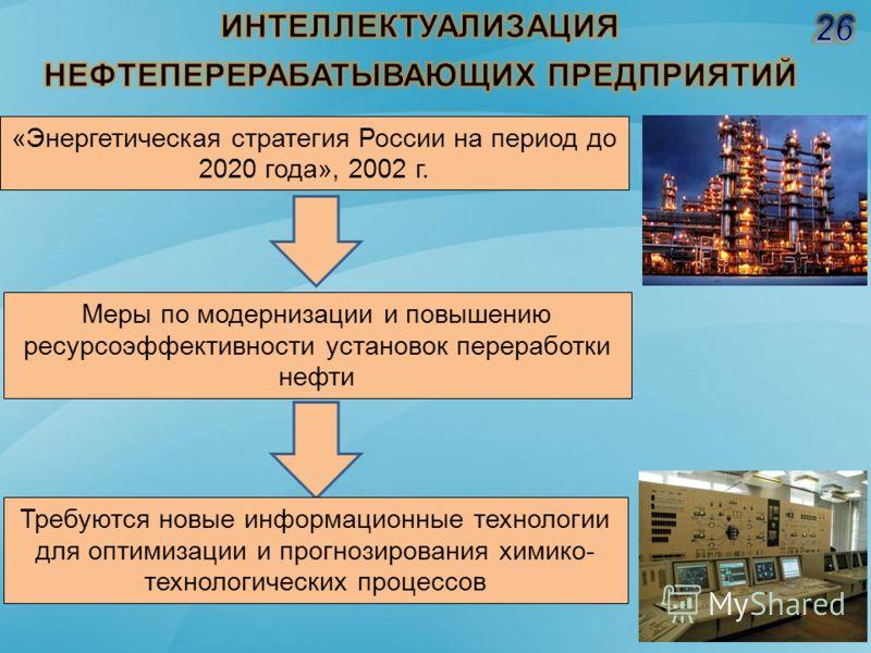 «Энергетическая стратегия России на период до 2020 года», 2002 г. Меры по модернизации и повышению ресурсоэффективности установок переработки нефти Требуются новые информационные технологии для оптимизации и прогнозирования химико- технологических пр