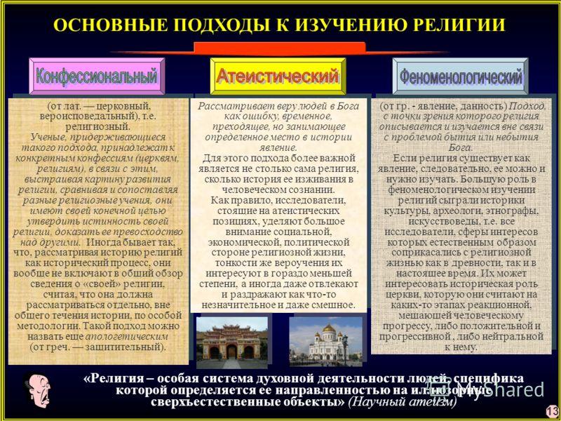 ОСНОВНЫЕ ПОДХОДЫ К ИЗУЧЕНИЮ РЕЛИГИИ (от лат. церковный, вероисповедальный), т.е. религиозный. Ученые, придерживающиеся такого подхода, принадлежат к конкретным конфессиям (церквям, религиям), в связи с этим, выстраивая картину развития религии, сравн