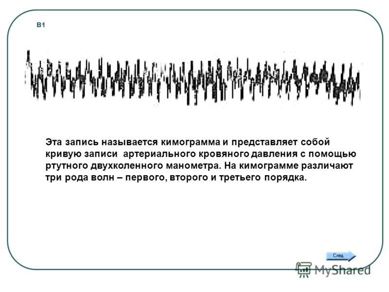 В1 Эта запись называется кимограмма и представляет собой кривую записи артериального кровяного давления с помощью ртутного двухколенного манометра. На кимограмме различают три рода волн – первого, второго и третьего порядка.
