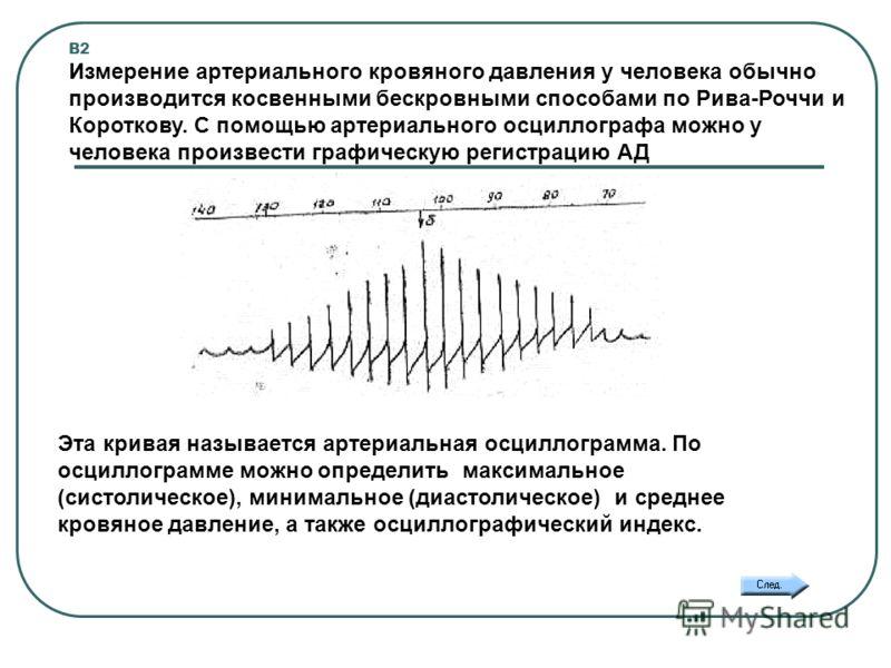 В2 Измерение артериального кровяного давления у человека обычно производится косвенными бескровными способами по Рива-Роччи и Короткову. С помощью артериального осциллографа можно у человека произвести графическую регистрацию АД Эта кривая называется