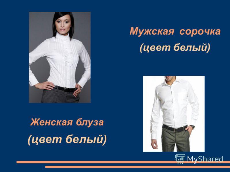 Мужская сорочка (цвет белый) Женская блуза (цвет белый)