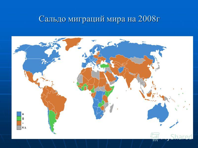 Сальдо миграций мира на 2008г