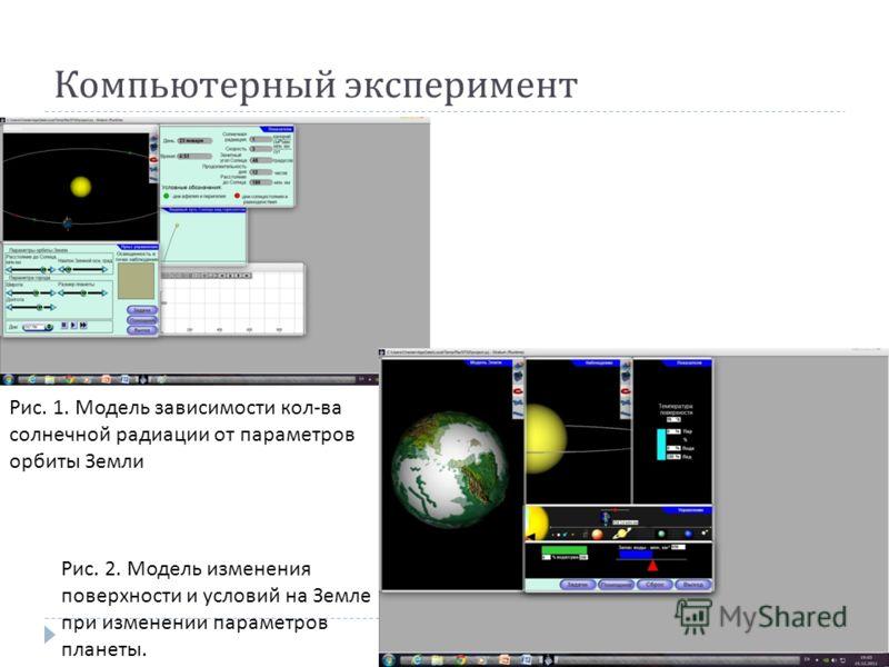 Компьютерный эксперимент Рис. 1. Модель зависимости кол-ва солнечной радиации от параметров орбиты Земли Рис. 2. Модель изменения поверхности и условий на Земле при изменении параметров планеты.