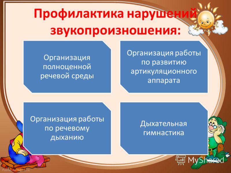 FokinaLida.75@mail.ru Профилактика нарушений звукопроизношения: Организация полноценной речевой среды Организация работы по развитию артикуляционного аппарата Организация работы по речевому дыханию Дыхательная гимнастика