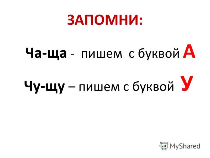 ЗАПОМНИ: Ча-ща - пишем с буквой А Чу-щу – пишем с буквой У