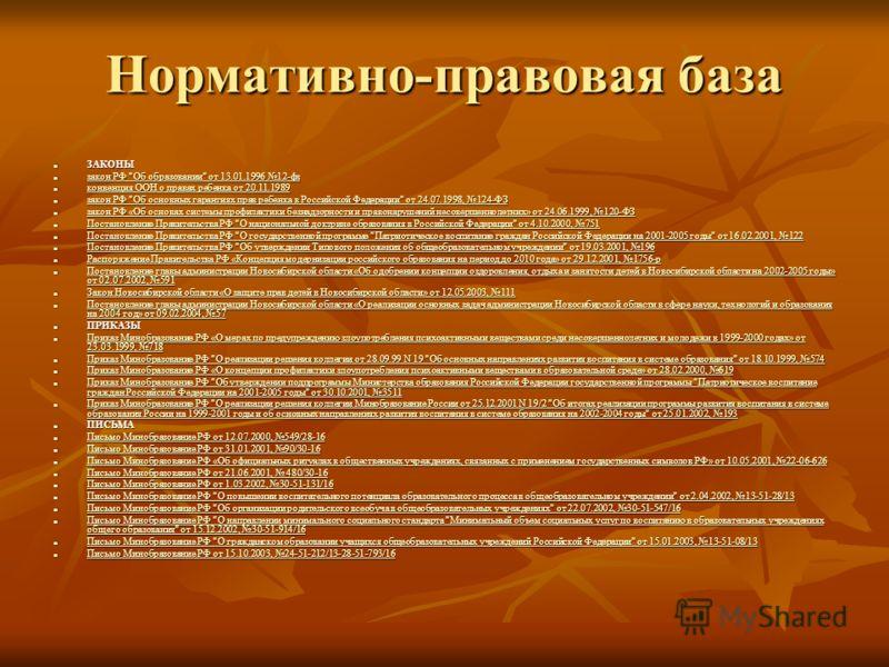 Нормативно-правовая база ЗАКОНЫ ЗАКОНЫ закон РФ
