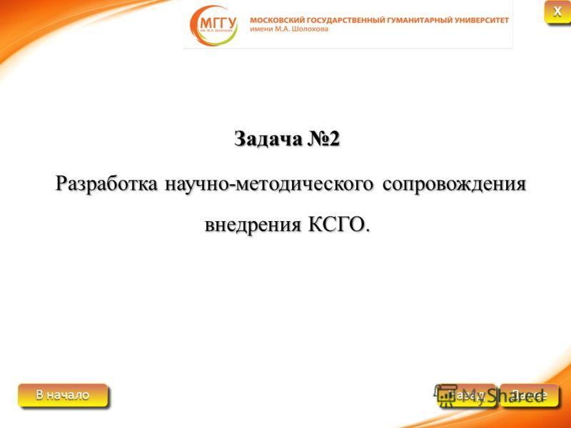 В начало В начало В начало В начало Далее Назад XXXX XXXX Задача 2 Разработка научно-методического сопровождения внедрения КСГО.