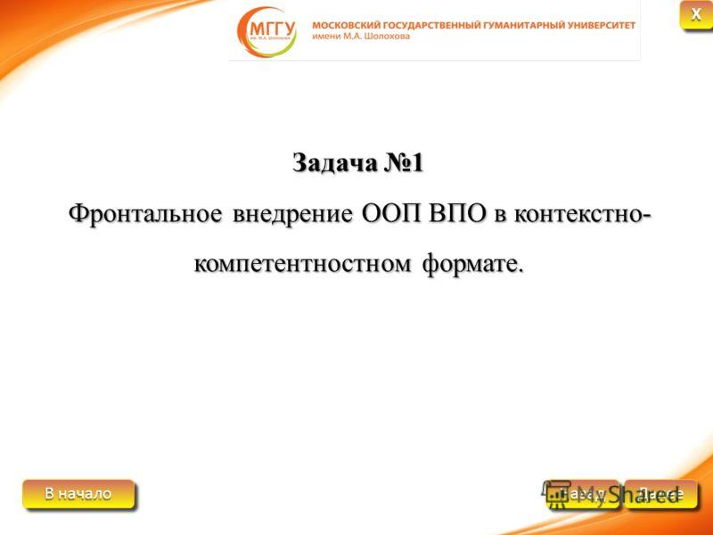 В начало В начало В начало В начало Далее Назад XXXX XXXX Задача 1 Фронтальное внедрение ООП ВПО в контекстно- компетентностном формате.