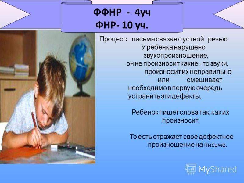 Процесс письма связан с устной речью. У ребенка нарушено звукопроизношение, он не произносит какие – то звуки, произносит их неправильно или смешивает необходимо в первую очередь устранить эти дефекты. Ребенок пишет слова так, как их произносит. То е