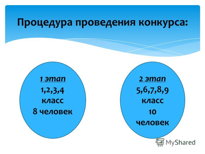 Процедура проведения конкурса: 1 этап 1,2,3,4 класс 8 человек 2 этап 5,6,7,8,9 класс 10 человек