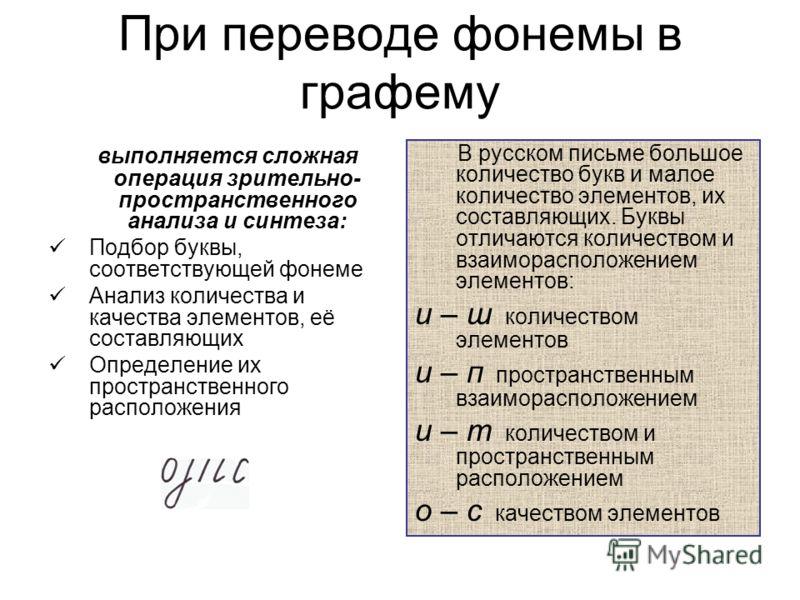 При переводе фонемы в графему выполняется сложная операция зрительно- пространственного анализа и синтеза: Подбор буквы, соответствующей фонеме Анализ количества и качества элементов, её составляющих Определение их пространственного расположения В ру