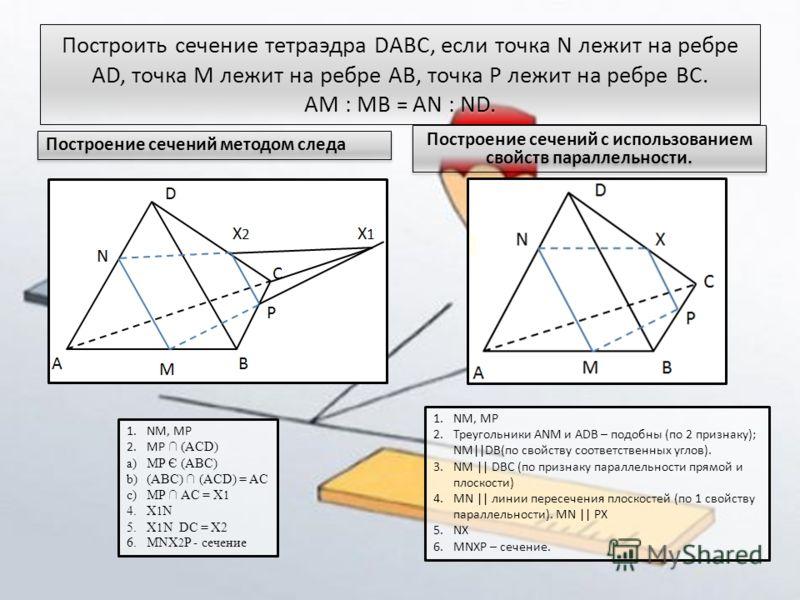 Построить сечение тетраэдра DABC, если точка N лежит на ребре AD, точка M лежит на ребре AB, точка P лежит на ребре BC. AM : MB = AN : ND. Построение сечений методом следа Построение сечений с использованием свойств параллельности. 1.NM, MP 2.Треугол