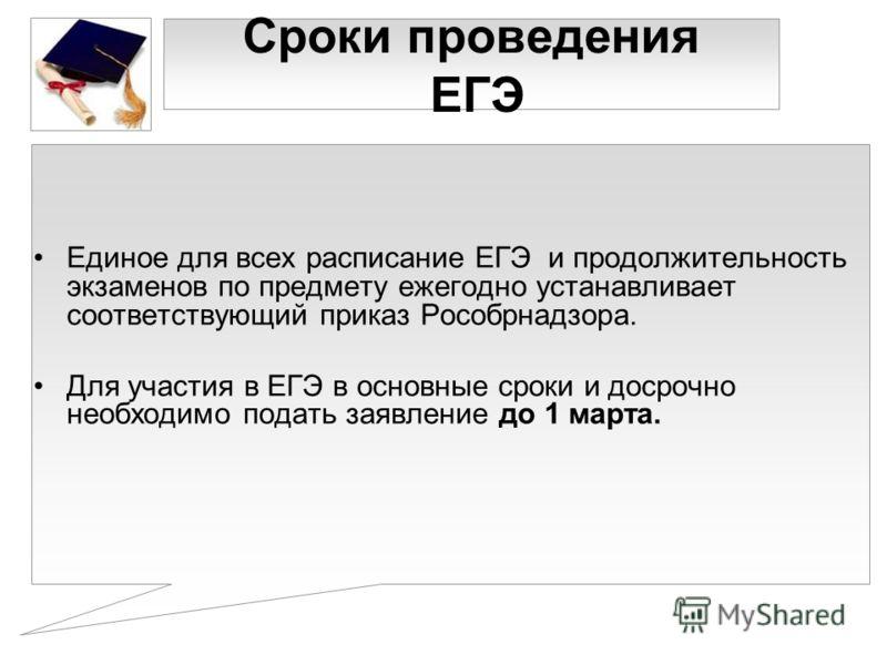 Сроки проведения ЕГЭ Единое для всех расписание ЕГЭ и продолжительность экзаменов по предмету ежегодно устанавливает соответствующий приказ Рособрнадзора. Для участия в ЕГЭ в основные сроки и досрочно необходимо подать заявление до 1 марта.
