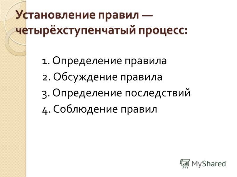 Установление правил четырёхступенчатый процесс : 1. Определение правила 2. Обсуждение правила 3. Определение последствий 4. Соблюдение правил