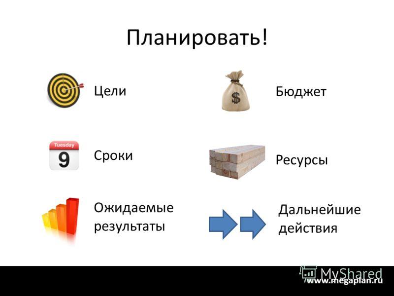 Планировать! Ресурсы Дальнейшие действия Цели Сроки Ожидаемые результаты Бюджет www.megaplan.ru