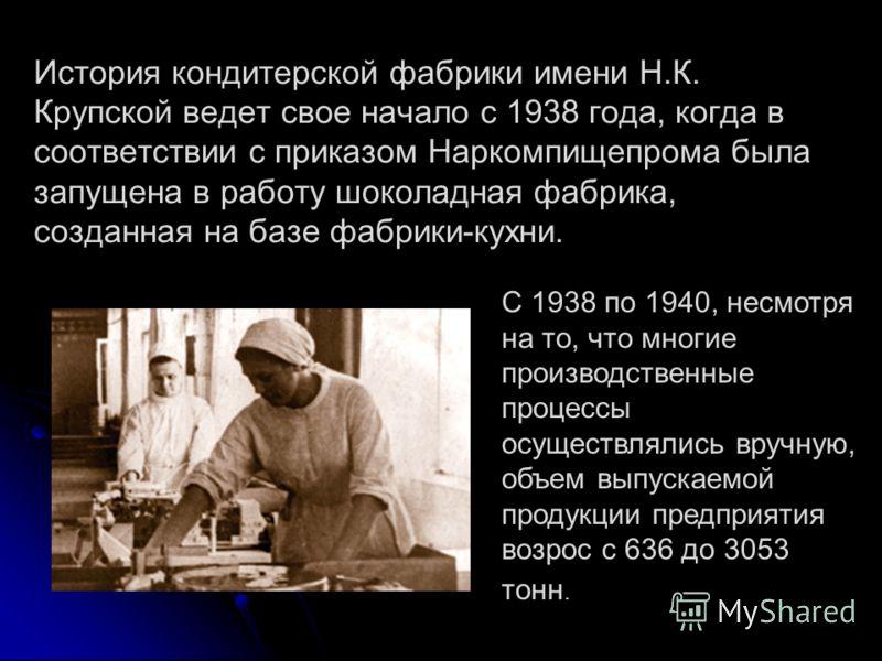 История кондитерской фабрики имени Н.К. Крупской ведет свое начало с 1938 года, когда в соответствии с приказом Наркомпищепрома была запущена в работу шоколадная фабрика, созданная на базе фабрики-кухни. С 1938 по 1940, несмотря на то, что многие про