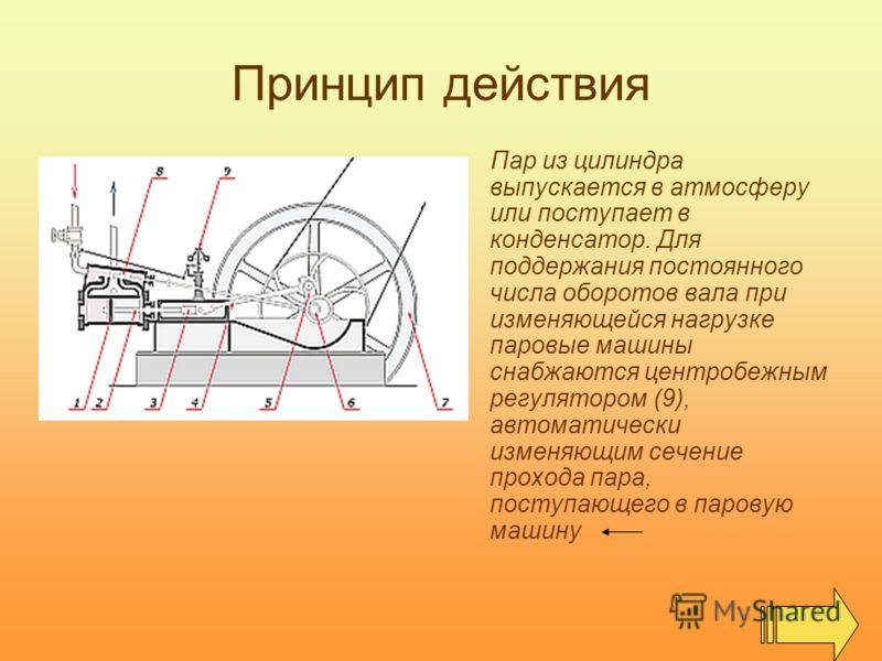 Принцип действия Пар из цилиндра выпускается в атмосферу или поступает в конденсатор. Для поддержания постоянного числа оборотов вала при изменяющейся нагрузке паровые машины снабжаются центробежным регулятором (9), автоматически изменяющим сечение п