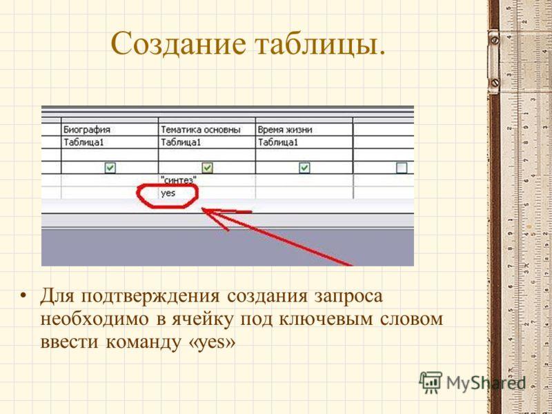 Создание таблицы. Для подтверждения создания запроса необходимо в ячейку под ключевым словом ввести команду «yes»
