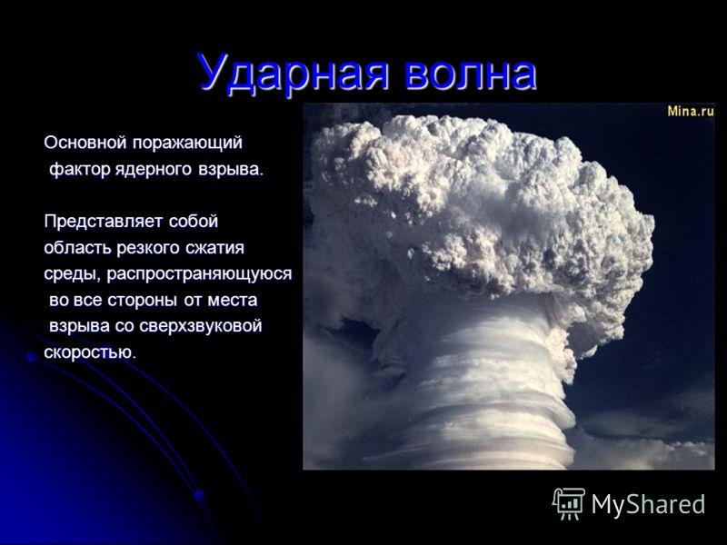 Ударная волна Основной поражающий фактор ядерного взрыва. фактор ядерного взрыва. Представляет собой область резкого сжатия среды, распространяющуюся во все стороны от места во все стороны от места взрыва со сверхзвуковой взрыва со сверхзвуковойскоро