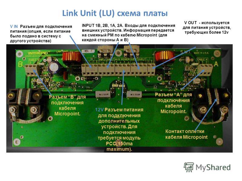 Link Unit (LU) схема платы V IN Разъем для подключения питания (опция, если питание было подано в систему с другого устройства) Разъем B для подключения кабеля Micropoint. Разъем А для подключения кабеля Micropoint. 12V Разъем питания для подключения
