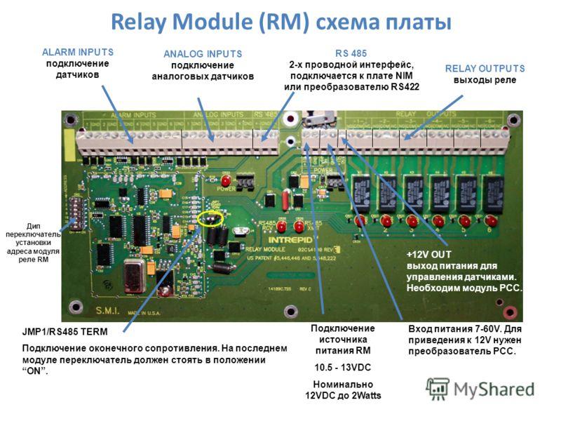 Relay Module (RM) схема платы ANALOG INPUTS подключение аналоговых датчиков RS 485 2-х проводной интерфейс, подключается к плате NIM или преобразователю RS422 ALARM INPUTS подключение датчиков Дип переключатель установки адреса модуля реле RM JMP1/RS