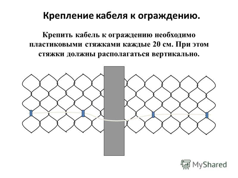 Крепление кабеля к ограждению. Крепить кабель к ограждению необходимо пластиковыми стяжками каждые 20 см. При этом стяжки должны располагаться вертикально.