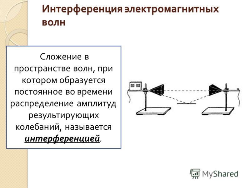 Интерференция электромагнитных волн Сложение в пространстве волн, при котором образуется постоянное во времени распределение амплитуд результирующих колебаний, называется интерференцией.