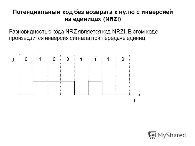0 00 0 1 1 1 1 t U Разновидностью кода NRZ является код NRZI. В этом коде производится инверсия сигнала при передаче единиц. Потенциальный код без возврата к нулю с инверсией на единицах (NRZI)