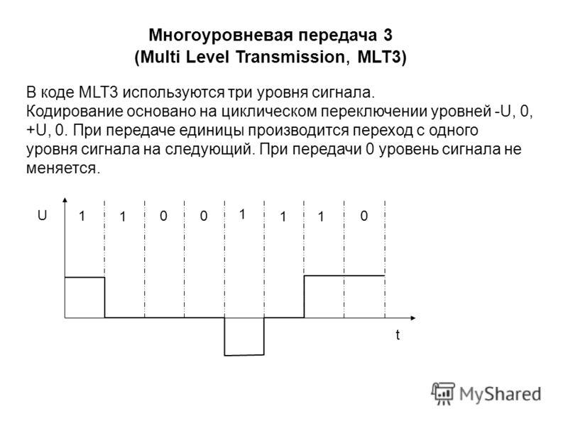 В коде MLT3 используются три уровня сигнала. Кодирование основано на циклическом переключении уровней -U, 0, +U, 0. При передаче единицы производится переход с одного уровня сигнала на следующий. При передачи 0 уровень сигнала не меняется. Многоуровн