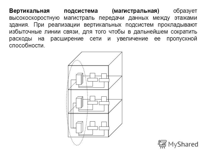Вертикальная подсистема (магистральная) образует высокоскоростную магистраль передачи данных между этажами здания. При реализации вертикальных подсистем прокладывают избыточные линии связи, для того чтобы в дальнейшем сократить расходы на расширение