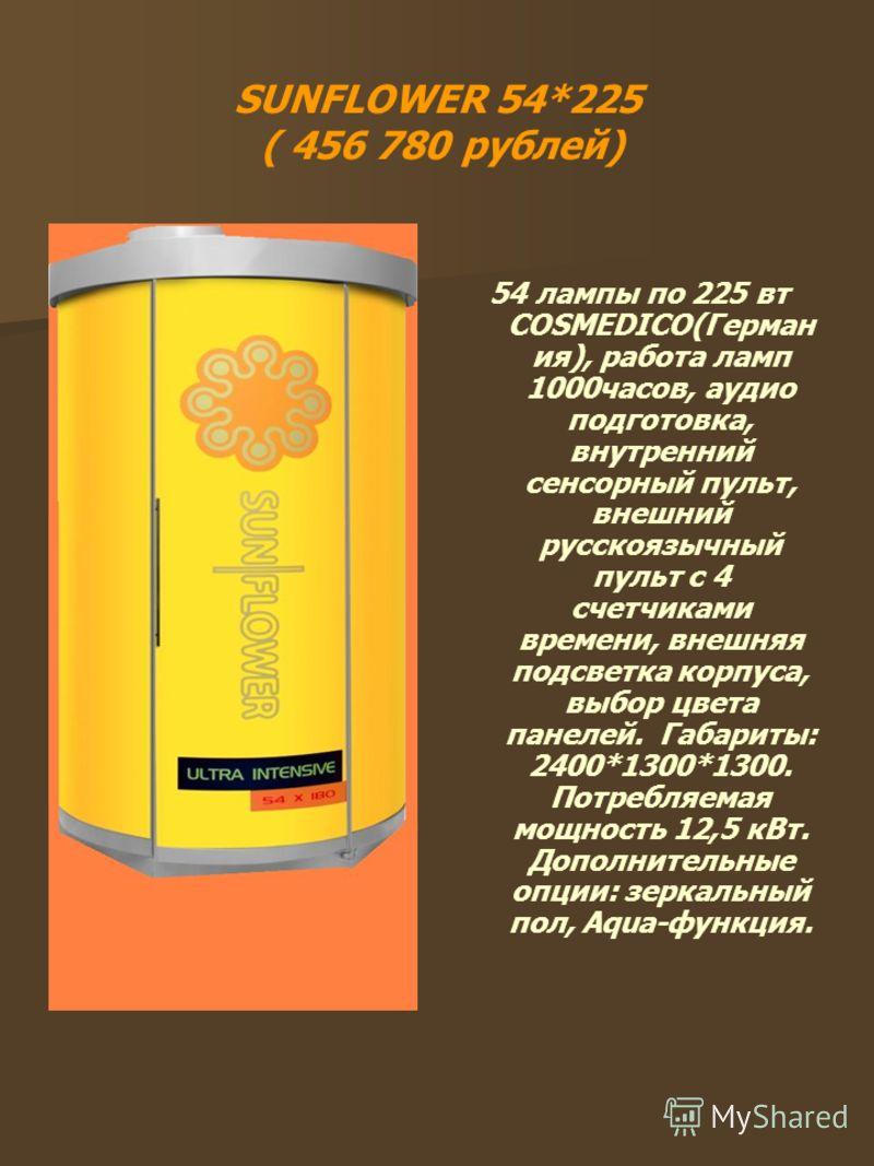SUNFLOWER 54*225 ( 456 780 рублей) 54 лампы по 225 вт COSMEDICO(Герман ия), работа ламп 1000часов, аудио подготовка, внутренний сенсорный пульт, внешний русскоязычный пульт с 4 счетчиками времени, внешняя подсветка корпуса, выбор цвета панелей. Габар