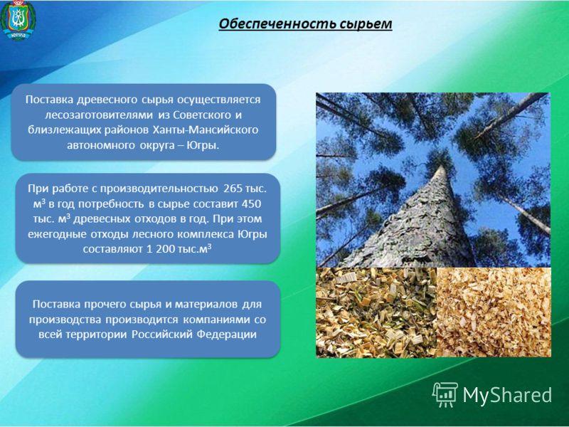 Обеспеченность сырьем Поставка древесного сырья осуществляется лесозаготовителями из Советского и близлежащих районов Ханты-Мансийского автономного округа – Югры. При работе с производительностью 265 тыс. м 3 в год потребность в сырье составит 450 ты
