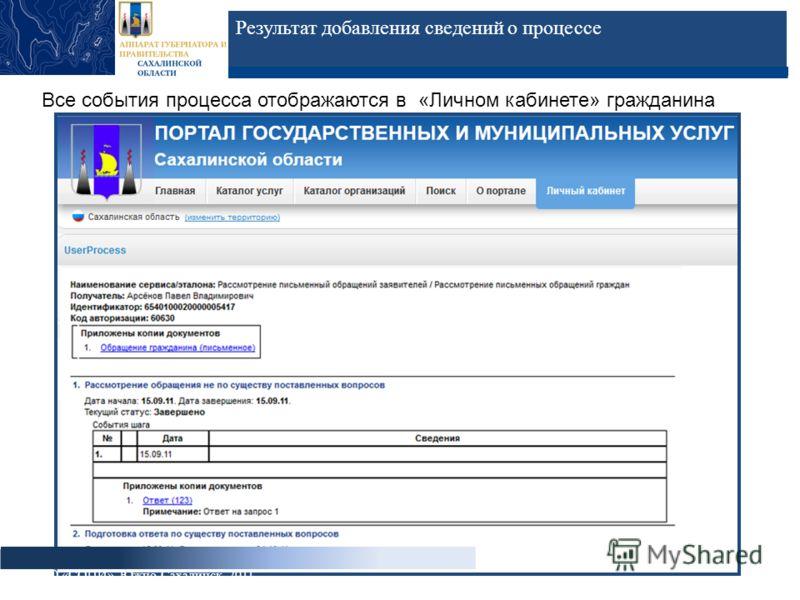 Результат добавления сведений о процессе ГБУ СО «СОЦИ», Южно-Сахалинск, 2011 Все события процесса отображаются в «Личном кабинете» гражданина