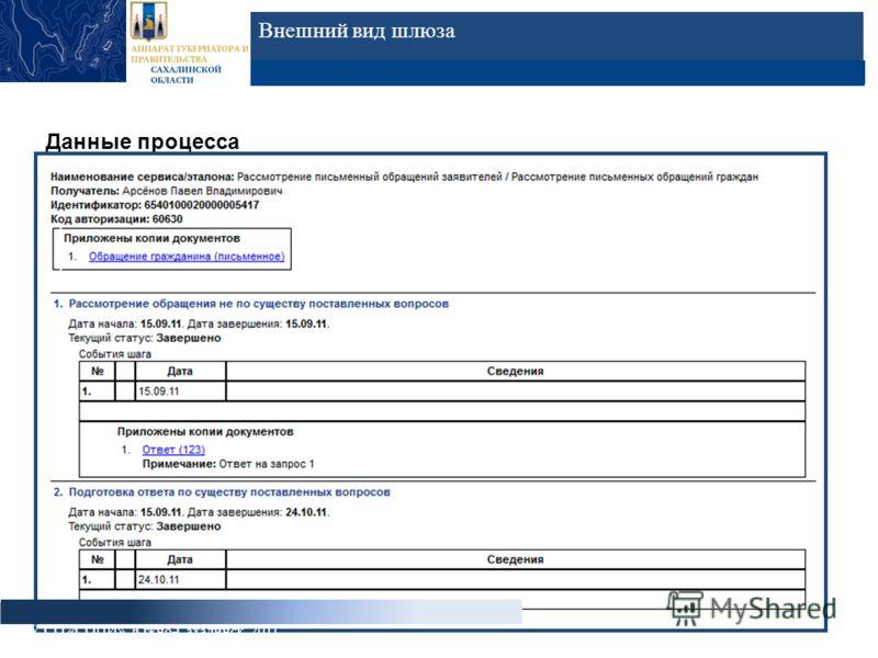 Внешний вид шлюза Данные процесса ГБУ СО «СОЦИ», Южно-Сахалинск, 2011