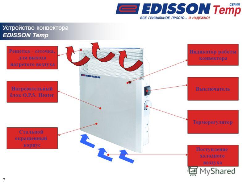 Поступление холодного воздуха Стальной окрашенный корпус Индикатор работы конвектора Решетка - сеточка, для выхода нагретого воздуха Терморегулятор Выключатель Устройство конвектора EDISSON Temp Нагревательный блок O.P.S. Heater 7