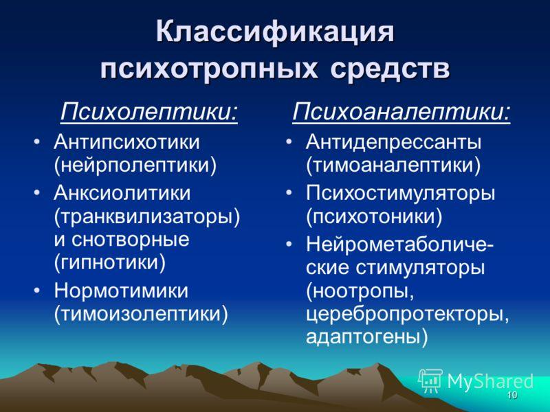 10 Классификация психотропных средств Психолептики: Антипсихотики (нейрполептики) Анксиолитики (транквилизаторы) и снотворные (гипнотики) Нормотимики (тимоизолептики) Психоаналептики: Антидепрессанты (тимоаналептики) Психостимуляторы (психотоники) Не