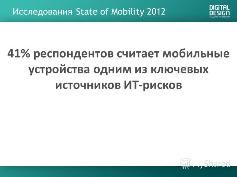 Исследования State of Mobility 2012 41% респондентов считает мобильные устройства одним из ключевых источников ИТ-рисков